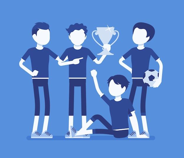 Illustration de gagnant de l'équipe de joueurs de football junior football