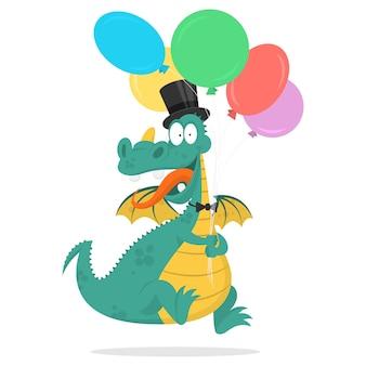 Illustration gai dragon tient dans les mains des ballons, format eps 10