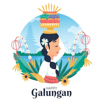 Illustration de galungan dessiné à la main