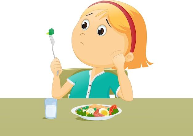 Illustration de gamin triste avec son petit déjeuner