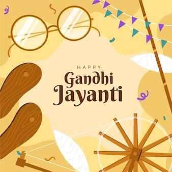 Illustration de gandhi jayanti plat dessiné à la main