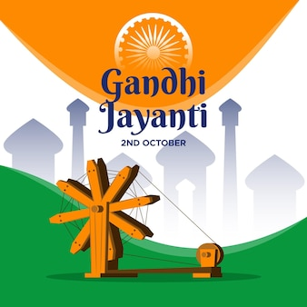 Illustration de gandhi jayanti plat