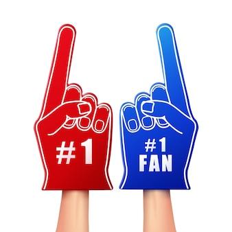 Illustration de gants en mousse de ventilateur de couleur rouge et bleue