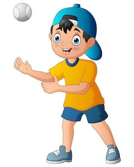 Illustration d'un garçon attraper la balle