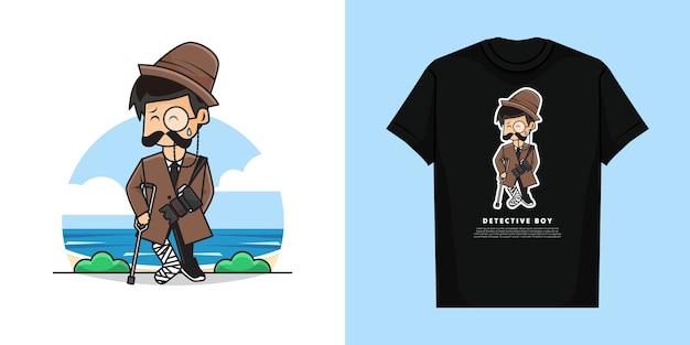 Illustration d'un garçon détective mignon avec un geste de fracture de la jambe et de la conception de t-shirt