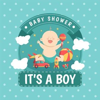 Illustration de garçon de douche de bébé
