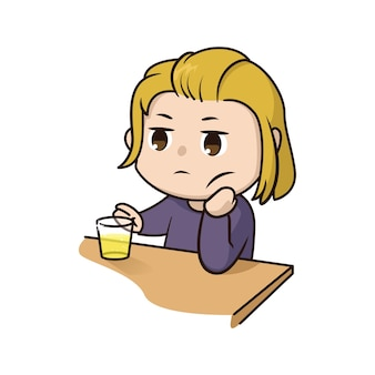 Illustration de garçon ennuyeux drôle mignon