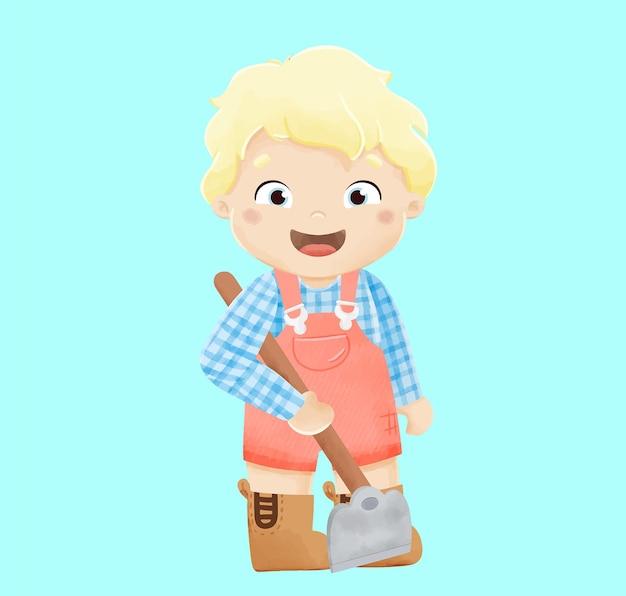 Illustration de garçon fermier aquarelle mignon