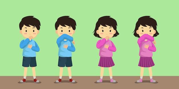 Illustration de garçon et fille de toux de coude