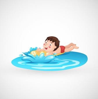 Illustration d'un garçon isolé et d'une piscine
