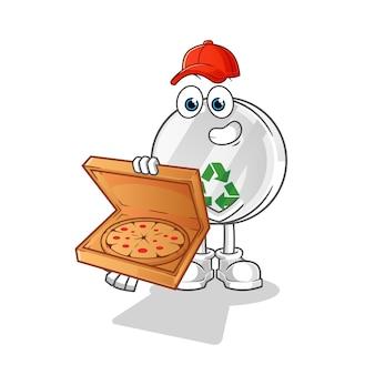 Illustration de garçon de livraison de pizza signe de recyclage
