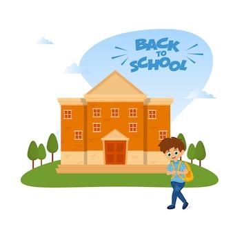 Illustration d'un garçon mignon étudiant debout devant le bâtiment de l'école sur fond blanc pour le concept de retour à l'école.