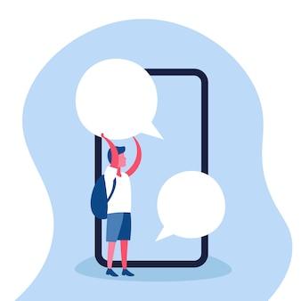 Illustration d'un garçon tenant une bulle de discussion
