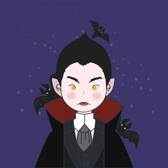 Illustration de garçon vampire. vampire avec chauve-souris.