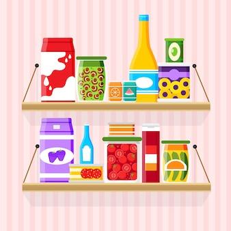Illustration de garde-manger design plat avec étagère