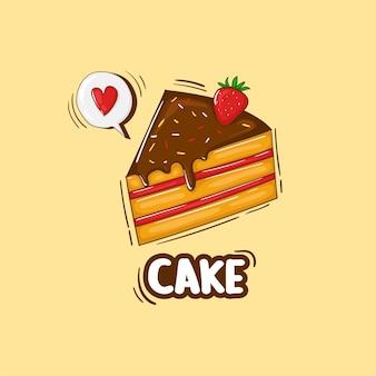 Illustration de gâteau dessiné à la main coloré