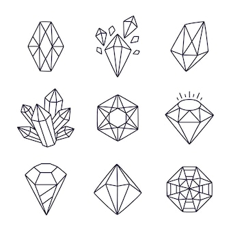 Illustration de gemmes doodle dessinés à la main