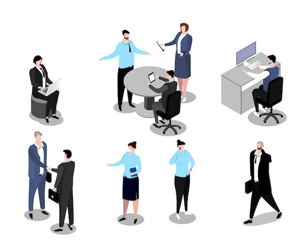 Illustration de gens d'affaires isométrique, personnage de dessin animé homme femme employé dans le travail professionnel de bureau pose sur blanc