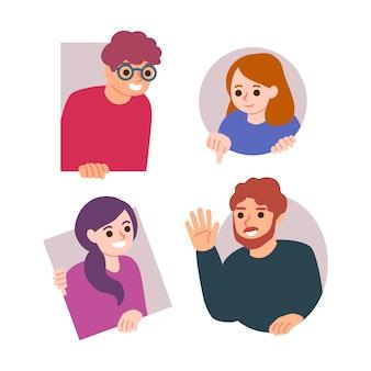 Illustration avec des gens lorgnant
