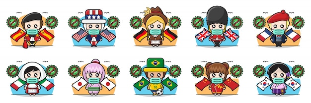 Illustration de gens mignons partout dans le monde contre le virus