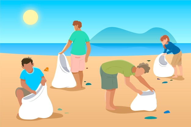 Illustration avec des gens nettoyant la plage