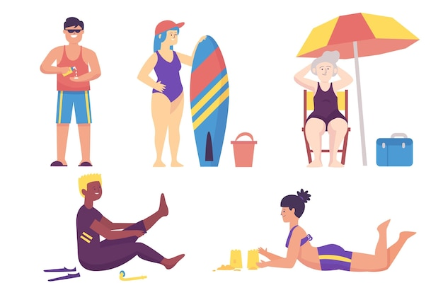 Illustration de gens de plage