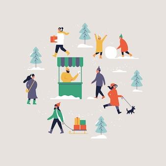 Illustration les gens profitant de leur temps à l'extérieur dans le parc. loisirs d'hiver