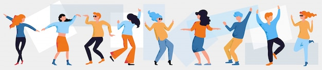 Illustration de gens qui dansent. jeu d'icônes de dessin animé drôle homme et femme dansant.
