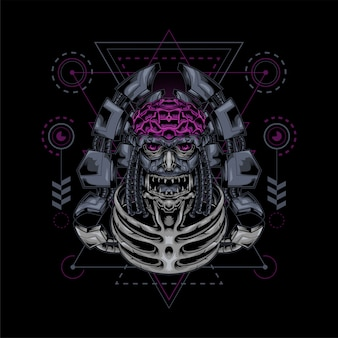 Illustration de la géométrie sacrée du robot zombie crâne