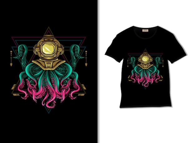 Illustration de la géométrie sacrée de la pieuvre avec un design de t-shirt