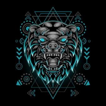 Illustration de la géométrie sacrée de tête d'ours impressionnante
