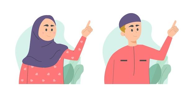 Illustration de gestes de main de personnes musulmanes