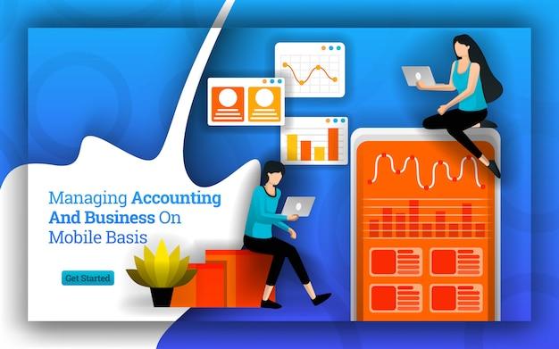 Illustration de la gestion de la comptabilité et des affaires sur une base mobile