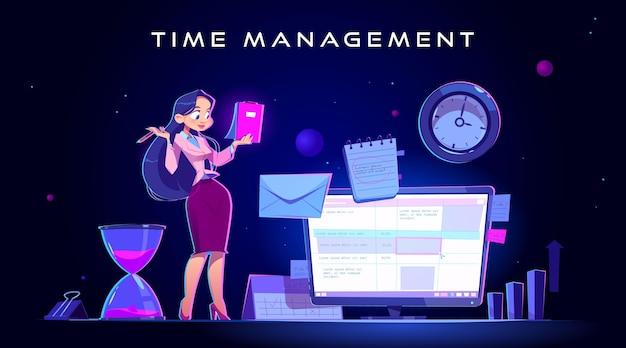 Illustration de gestion du temps dessinée à plat