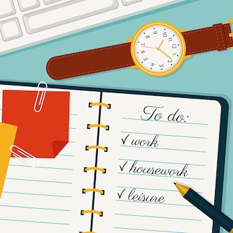 Illustration de la gestion du temps, liste des choses à faire