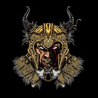 Illustration de gladiateur tête mecha