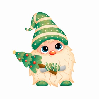 Illustration d'un gnome de noël dessin animé mignon