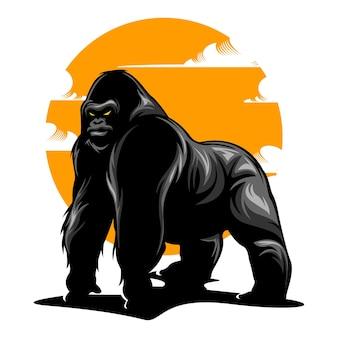 Illustration de gorille avec une couleur unie
