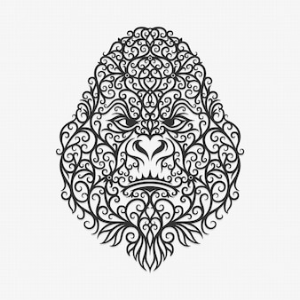 Illustration de gorille d'ornement de bornéo kalimantan dayak