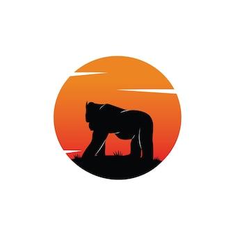 Illustration d'un gorille silhouette