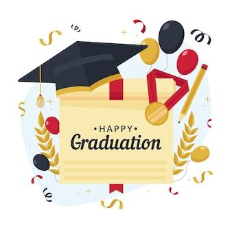 Illustration de graduation plat organique