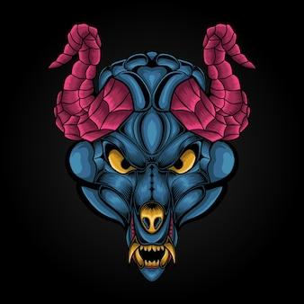 Illustration de grand buffle de tête d'animal à cornes