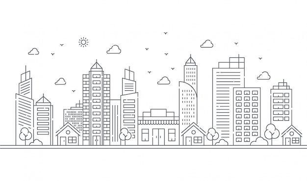 Illustration de grands bâtiments et arbres dans le style de lignes fines