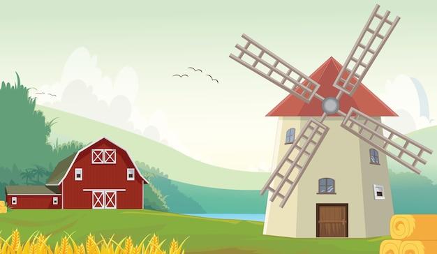 Illustration de la grange de ferme de campagne de montagne avec moulin à vent