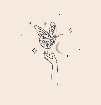 Illustration graphique abstraite avec élément de logo, art magique bohème du papillon et des étoiles