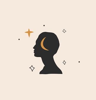 Illustration graphique abstraite avec élément de logo, art magique de la lune, des étoiles et de la silhouette de la femme