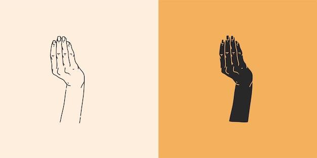 Illustration graphique abstraite avec un ensemble d'éléments de logo minimal, un dessin au trait de mains et une silhouette