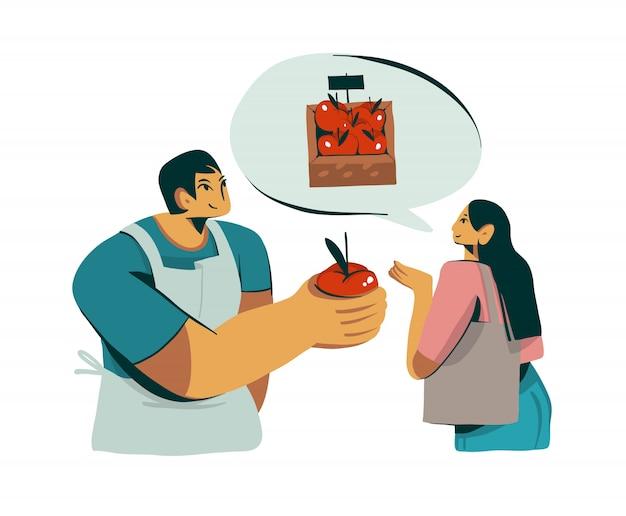 Illustration graphique abstraite stock dessinés à la main avec la conception de personnage de vendeur salles pomme organique fraîche à la jolie fille