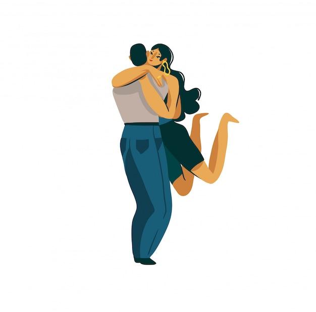 Illustration graphique abstraite stock dessinés à la main avec un jeune mec romantique tenant une belle fille dans ses bras isolé sur fond blanc