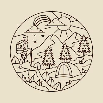 Illustration graphique d'aventure de camping